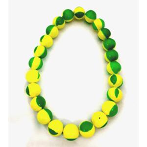 Colar Bolinhas Coloridas Verde Amarelo 35cm