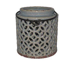 Vaso de Cerâmica Azul Vazado 14,5x15cm