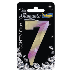 Vela Festcolor Diamante Rosa e Dourado Número 7