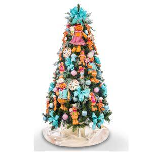 Kit Decoração Árvore Ginger Rosa e Azul (PARA ÁRVORE DE 2,10m)